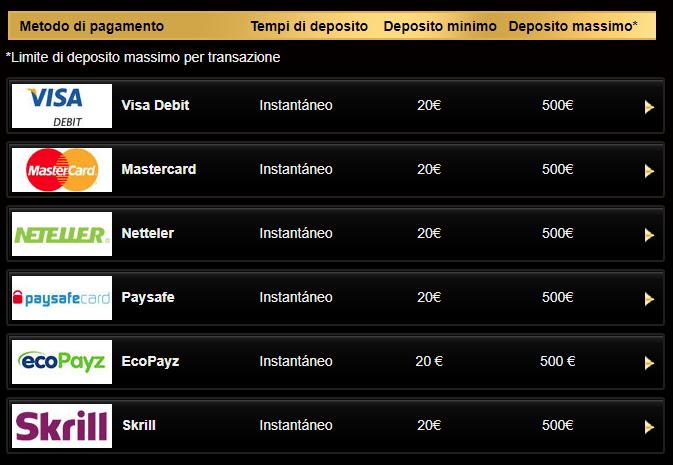 Casino Midas Metodi di pagamento 2