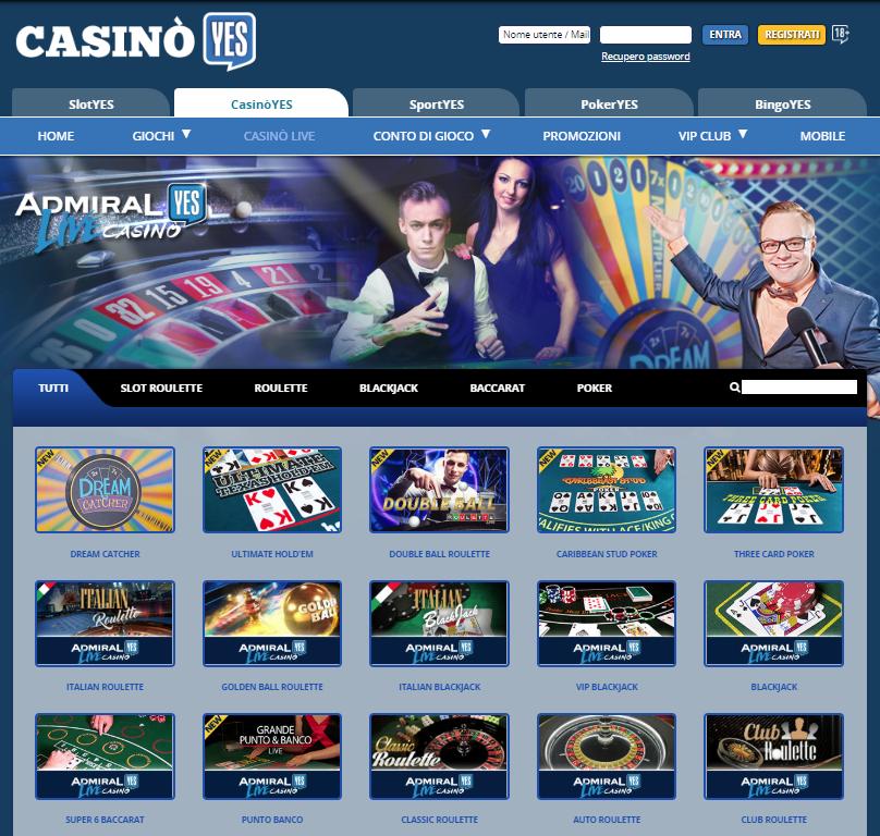 CasinoYes Live Casino Giochi