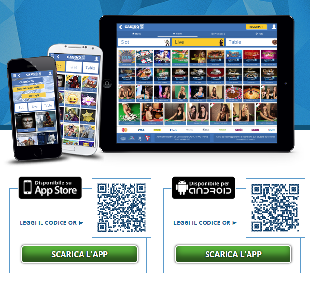 App mobile del CasinòYES per Android e iPhone   iOS