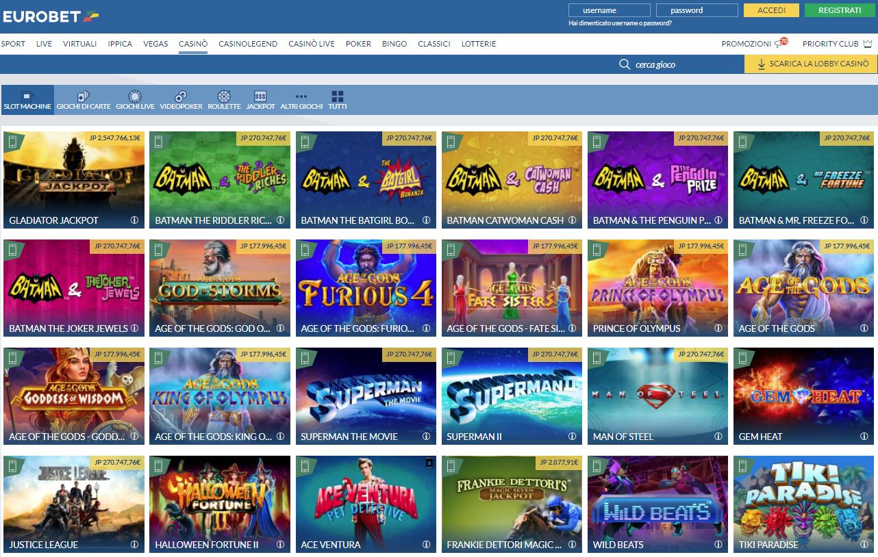 Eurobet Casino Giochi Slot