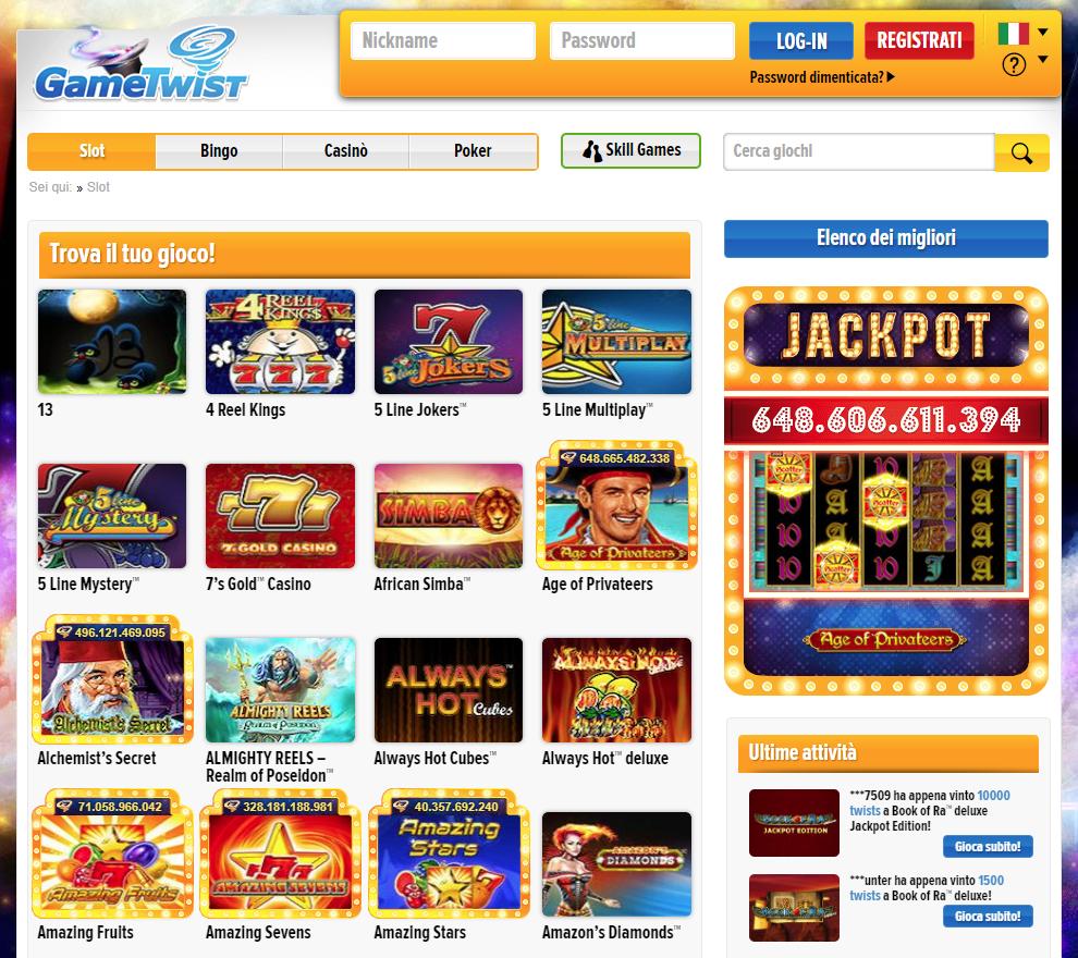 GameTwist Casino Giochi Slot
