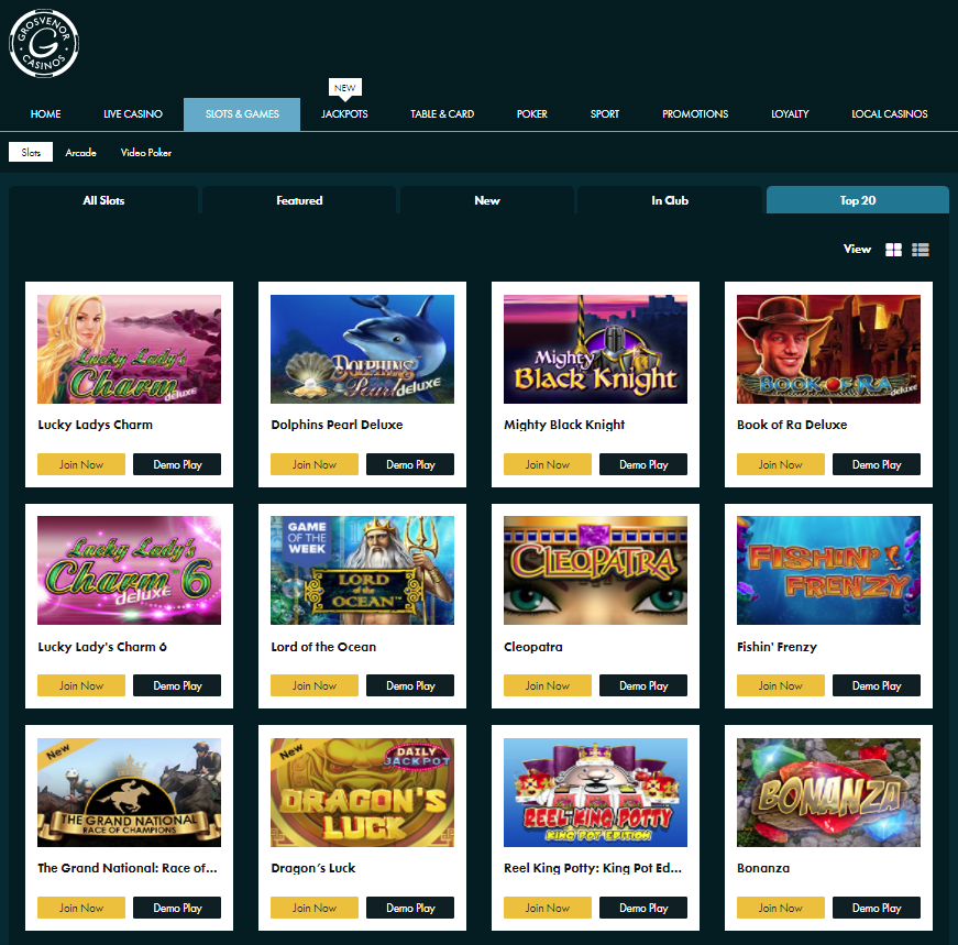Grosvenor Casinos Giochi Slot