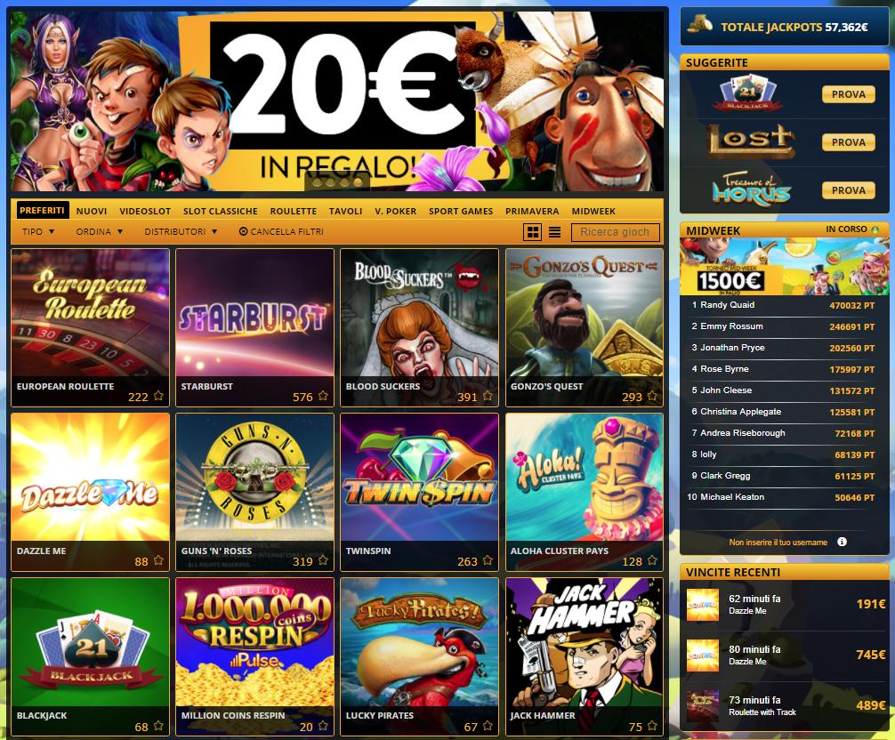 PlanetWin 365 Casino Giochi Slot