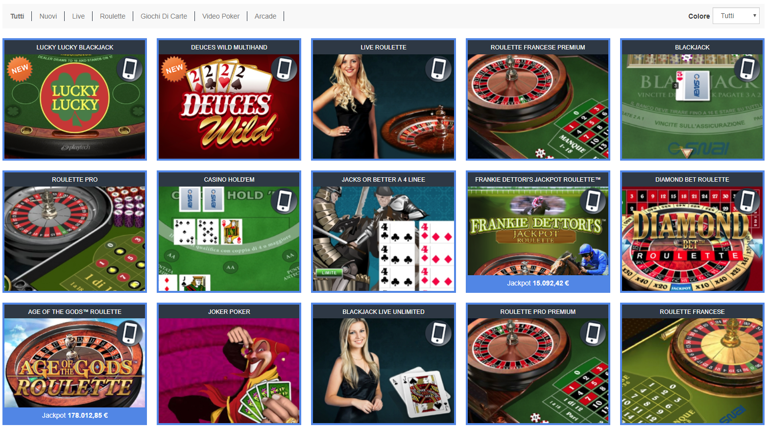 SNAI Casino Giochi Slot