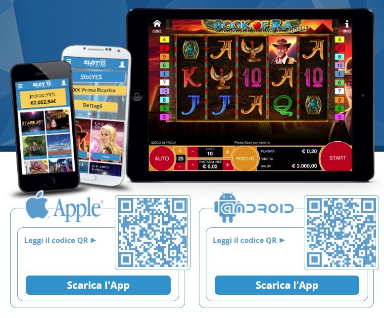 App mobile del SlotYES Casinò per Android e iPhone   iOS