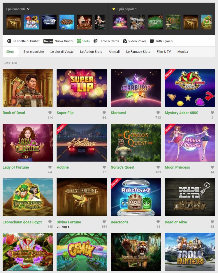 Unibet Casino Giochi Slot