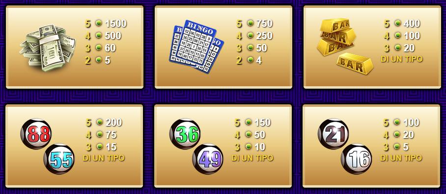 Bingo Gratis Gioco   Tabella di Pragamento