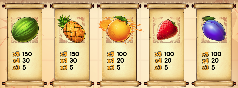 Giochi di Ninja Fruits simboli